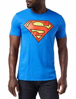 DC COMICS Herren Superman Logo T-Shirt, Royalblau, XL von DC COMICS