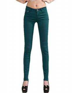 DELEY Damen Skinny Hose Pant Stretch Leg Jeans Juniors Röhre Leggings Treggings Dunkelgrün XL von DELEY