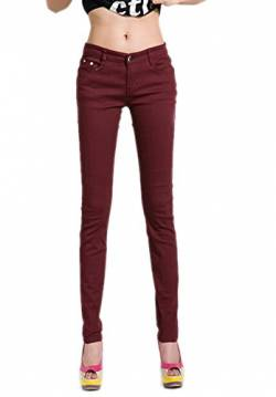 DELEY Damen Skinny Hose Pant Stretch Leg Jeans Juniors Röhre Leggings Treggings Dunkelrot M von DELEY