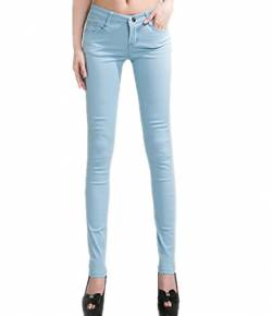 DELEY Damen Skinny Hose Pant Stretch Leg Jeans Juniors Röhre Leggings Treggings Hellblau S von DELEY