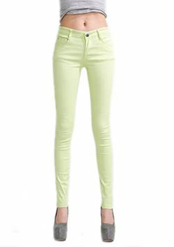 DELEY Damen Skinny Hose Pant Stretch Leg Jeans Juniors Röhre Leggings Treggings Hellgrün XL von DELEY