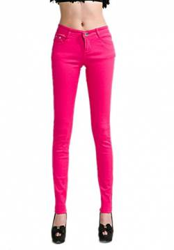 DELEY Damen Skinny Hose Pant Stretch Leg Jeans Juniors Röhre Leggings Treggings Hot Pink L von DELEY