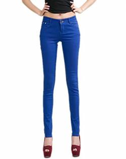 DELEY Damen Skinny Hose Pant Stretch Leg Jeans Juniors Röhre Leggings Treggings Königsblau L von DELEY