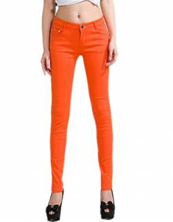 DELEY Damen Skinny Hose Pant Stretch Leg Jeans Juniors Röhre Leggings Treggings Orange M von DELEY