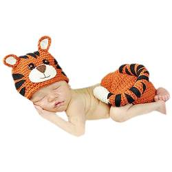 DELEY Neugeborene Baby Häkelarbeit Knit Tiger Kostüm Outfits Caps Hosen Set Baby Fotografie Requisiten 0-6 Monate von DELEY