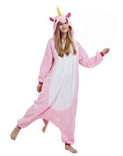 DELEY Unisex Erwachsene Cartoon Rosa Kaninchen Hooded Cosplay Anime Strampelanzug Schlafanzug Nachtwäsche, Einhorn, XL(Höhe: 181cm-190cm) von DELEY