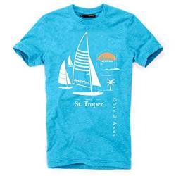 DEPARTED Herren T-Shirt mit Print/Motiv 4019-180 - New fit Größe L, Island Blue Melange von DEPARTED