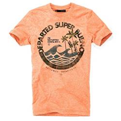 DEPARTED Herren T-Shirt mit Print/Motiv 4051-230 - New fit Größe M, Sunset orange Triblend von DEPARTED