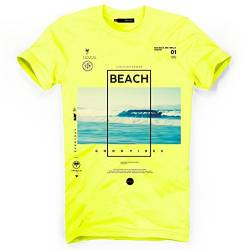 DEPARTED Herren T-Shirt mit Print/Motiv 4163-220 - New fit Größe M, Neon Yellow Breeze von DEPARTED