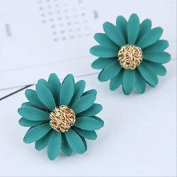 Ohrringe Holiday Elegant Big Double Flower Ohrringe Summer Style Beach Party Statement Ohrstecker für Frauen   goldgrün von DFDLNL