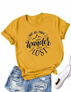 DRESSWEL Damen Rundhals Kurzarm T-Shirt Oberteile NOT All Those WHO Wander Are Lost Brief drucken Hemd Tee Tops Bluse von DRESSWEL