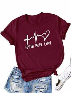 DRESSWEL Damen T-Shirt Faith Hope Love Brief drucken Rundhals Kurzarm Oberteil Shirt Grafikdruck Tee Tops Bluse (US S, Weinrot) von DRESSWEL