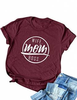 DRESSWEL Wife Mom Boss Brief Drucken Mama T-Shirts Damen Kurzarm Rundhals T-Shirt Tops Shirt Bluse von DRESSWEL