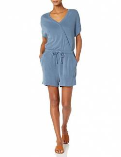 Daily Ritual Sandwashed Modal Blend Sleeve Overlap Romper Shorts, Blau - Washed Blue, US S (EU S - M) von Daily Ritual