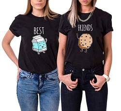 Daisy for U Best Friends Sister T-Shirt for Girls Ladies T Shirts with Print Rose Woman Tops Summer Top BFF Symbolic Friendship-Schwarz-Milch-XXL-1 Stücke von Daisy for U