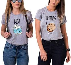 Daisy for U Best Friends Sister T-Shirt for Two Girls Ladies T Shirts with Print Rose Woman Tops Summer Top BFF 2 Pieces Symbolic Friendship-Grau-Milch-S-1 Stücke von Daisy for U
