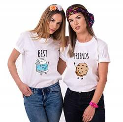 Daisy for U Best Friends Sister T-Shirt for Two Girls Ladies T Shirts with Print Rose Woman Tops Summer Top BFF 2 Pieces Symbolic Friendship-Weiß-Milch-M-1 Stücke von Daisy for U