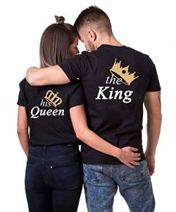 Daisy for U King Queen Pärche Shirts Set für Paar Partner Look T-Shirt Velentienstag Geschenk Tops Paare Baumwolle mit Aufdruck Queen-1 Stücke Schwarz-XXL(Damen) von Daisy for U