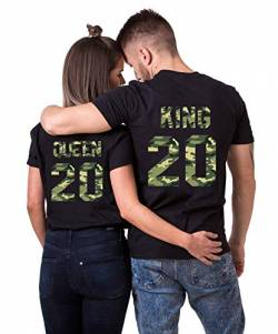 Daisy for U 2020 Neu T-Shirts Hoodie King Queen Shirts 1 Stücke-Schwarz-Camouflage-Queen-S(Damen) von Daisy for U