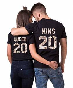 Daisy for U 2020 Neu T-Shirts Hoodie King Queen Shirts 1 Stücke-Schwarz-weiße Rose-Queen(Damen)-XL von Daisy for U