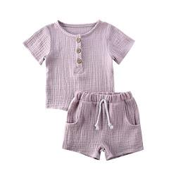 Kleinkind Baby Mädchen Jungen Shorts Set Sommer Outfit Baumwolle Leinen Ärmellos Button Down T-Shirt Top Kurze Hose Einfarbige Kleidung (Light Pink, 12-18 Months) von Dance Monkey