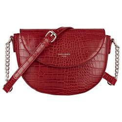 David Jones - Damen Kleine Krokodil Umhängetasche - Frauen Schultertasche PU Leder Halbe Runde Halbmond - Messenger Crossbody Bag Pochette Clutch Citytasche Abendtasche Mode Elegante - Rot von David Jones