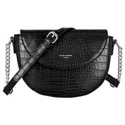 David Jones - Damen Kleine Krokodil Umhängetasche - Frauen Schultertasche PU Leder Halbe Runde Halbmond - Messenger Crossbody Bag Pochette Clutch Citytasche Abendtasche Mode Elegante - Schwarz von David Jones