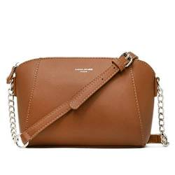 David Jones - Damen Kleine Umhängetasche Trapez - Schultertasche Echtes Leder Stil - Kette Handtasche - Frauen Kettenhenkel Tasche - Abendtasche Messenger Crossbody Bag Clutch Pochette - Kamel Braun von David Jones