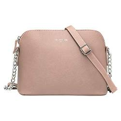 David Jones - Damen Kleine Umhängetasche - Saffiano Leder Feste Schultertasche - Kette Schulterriemen Abendtasche - Reißverschluss Handtasche - City Clutch Party Zip Crossbody Bag Mode - Rosa von David Jones