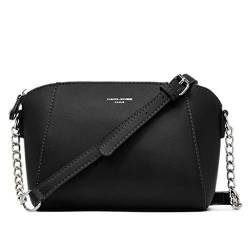 David Jones - Damen Kleine Umhängetasche Trapez - Schultertasche Echtes Leder Stil - Kette Handtasche - Frauen Kettenhenkel Tasche - Abendtasche Messenger Crossbody Bag Clutch Pochette - Schwarz von David Jones