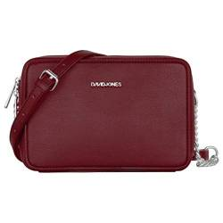 David Jones - Damen Kleine Umhängetasche Quadratisch - Schultertasche Kette Handtasche PU Leder - Crossbody Messenger Bag - Abendtasche Clutch Pochette City Tasche Mode Elegant - Bordeaux Rot von David Jones