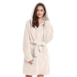 DecoKing Bademantel mit Kapuze XL beige kurz Damen Herren Unisex Morgenmantel Steppung weich leicht kuschelig Microfaser Fleece Sleepyhead von DecoKing