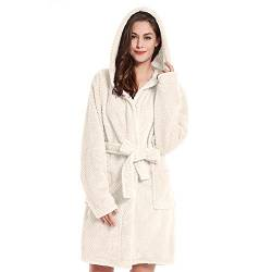 DecoKing Bademantel mit Kapuze XL Creme kurz Damen Herren Unisex Morgenmantel Steppung weich leicht kuschelig Microfaser Fleece Sleepyhead von DecoKing