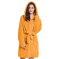 DecoKing Bademantel mit Kapuze XXL orange kurz Damen Herren Unisex Morgenmantel Steppung weich leicht kuschelig Microfaser Fleece Sleepyhead von DecoKing