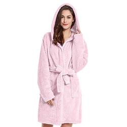 DecoKing Bademantel mit Kapuze XL rosa kurz Damen Herren Unisex Morgenmantel Steppung weich leicht kuschelig Microfaser Fleece Sleepyhead von DecoKing