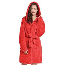 DecoKing Bademantel mit Kapuze XL rot kurz Damen Herren Unisex Morgenmantel Steppung weich leicht kuschelig Microfaser Fleece Sleepyhead von DecoKing