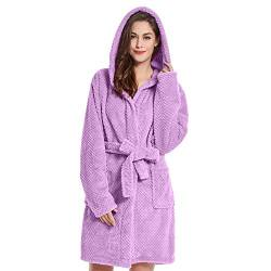 DecoKing Bademantel mit Kapuze XL lila kurz Damen Herren Unisex Morgenmantel Steppung weich leicht kuschelig Microfaser Fleece Sleepyhead von DecoKing