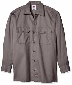 Dickies Men's Long Sleeve Work Shirt, Gravel Gray, L von Dickies