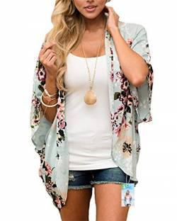 Damen Florale Kimono Cardigan - Chiffon Blumendruck Kimono Cardigan Cover Up Boho Sommer Casual Bluse Beach Swimwear (Light Green, X-Large) von Digitek