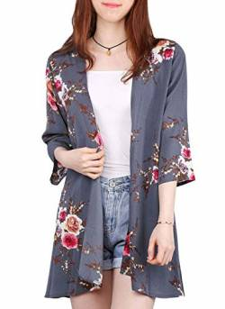 Digitek Damen Florale Kimono Cardigan - Chiffon Blumendruck Kimono Cardigan Cover Up Boho Sommer Casual Bluse Beach Swimwear (Grey#B, XX-Large) von Digitek