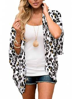 Digitek Damen Florale Kimono Cardigan - Chiffon Blumendruck Kimono Cardigan Cover Up Boho Sommer Casual Bluse Beach Swimwear (White, X-Large) von Digitek