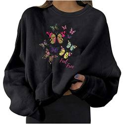 Fashion Womens Casual Long Sleeve Pullover Sweatshirt Butterfly Print Ladies Shirt Tops von Dinnesis
