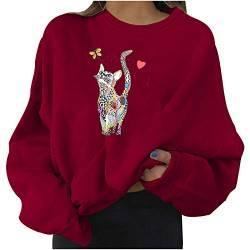 Fashion Womens Casual Long Sleeve Pullover Sweatshirt Cat Print Ladies Shirt Tops von Dinnesis