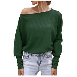 Women Off The Shoulder Tops Casual Shirt Bat Sleeve Loose Off Shoulder Solid Blouse Sweater von Dinnesis
