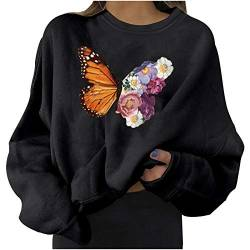 Womens Casual Long Sleeve Pullover Sweatshirt Butterfly Print Ladies Shirt Tops von Dinnesis