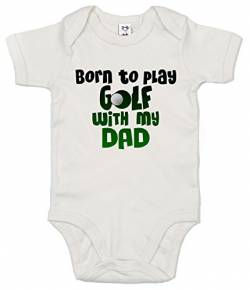 "Dirty Fingers Baby-Body mit Aufschrift ""Born to Play Golf with My Dad"" Gr. 3-6 Monate, weiß von Dirty Fingers"
