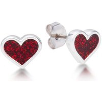 Damen Disney Couture Alice in Wonderland Heart Stud Ohrringe versilbert DYE085 von Disney Couture