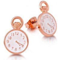 Damen Disney Couture Alice in Wonderland Pocket Watch Stud Ohrringe rosévergoldet DRE0704 von Disney Couture