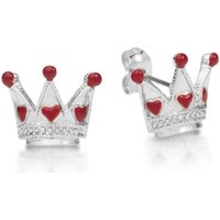 Damen Disney Couture Alice in Wonderland Queen of Hearts Stud Ohrringe versilbert DSE0724 von Disney Couture