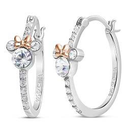 Disney Minnie Mouse Jewelry for Women, Sterling Silver Minnie Mouse Cubic Zirconia Hoop Earrings, Two Tone von Disney